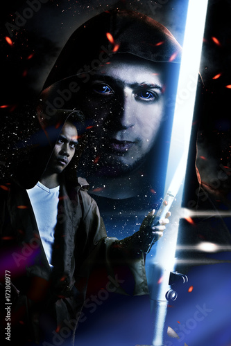 Photo  book cover concepct - Two warriors holding a lightsaber