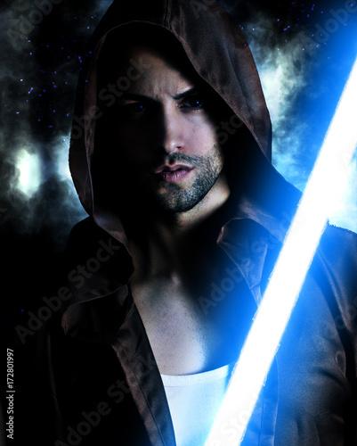 Photo  Handsome warrior holding a blue lightsaber