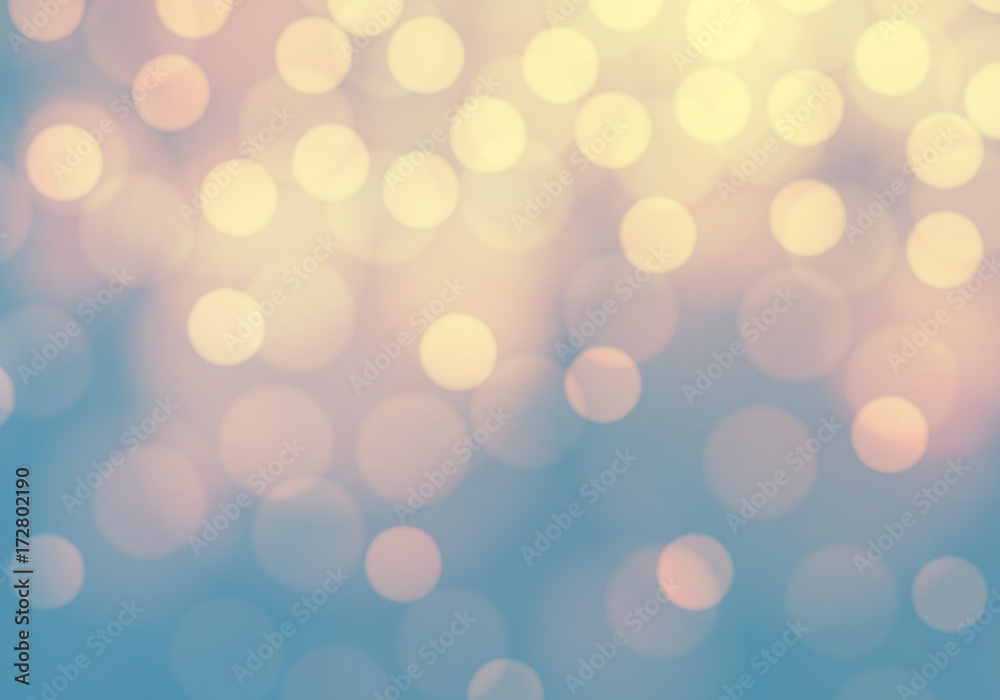 Fototapeta Abstract yellow bokeh light on blue luxury background vector illustration.