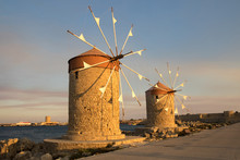Two Traditional Windmill In Rhodes,Greece