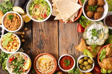 Fototapeta selection of libanese food mezze