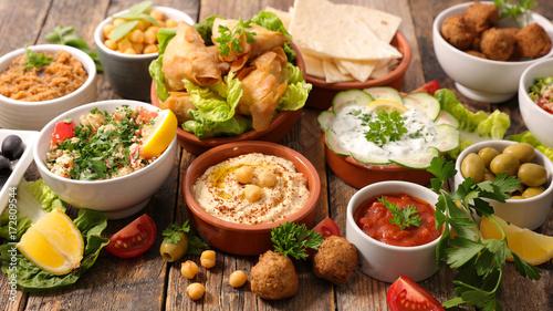Photo  selection of libanese food mezze