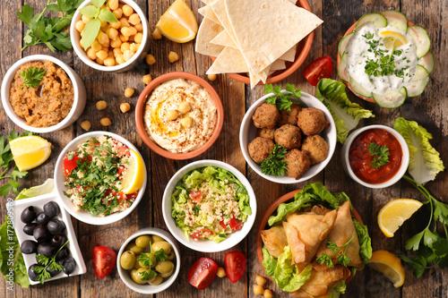 selection of libanese food mezze Canvas Print