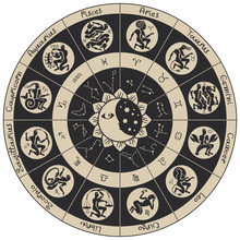 Vector Zodiac Circle With Icon...