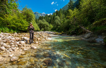 Fly Fisherman Fishing Trouts I...