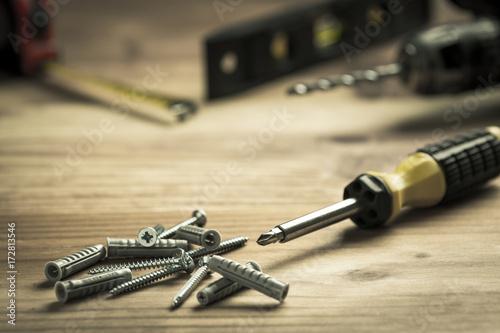 Obraz na plátne Screwdriver and pile of screws