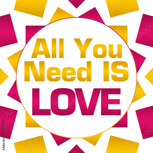 Photo  All You Need Is Love Pink Gold Circular Background