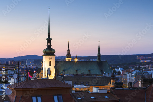 Old town of Brno as seen from the town hall tower. Poster