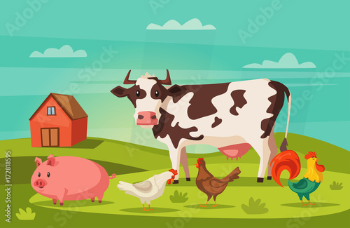 Wall Murals Green coral Farm animals and house. Village. Cartoon vector illustration