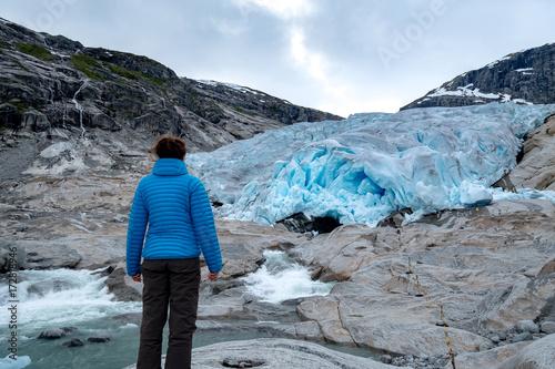 Poster Glaciers Nigardsbreen glacier in Jostedalen valley, Jostedalsbreen national park, Sogn og Fjordane, Norway