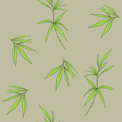 Fototapeta Bambus Seamless pattern with bamboo leaves and branches in Japanese sty