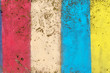 canvas print picture - Concrete wall painted in colors of yellow, red and blue