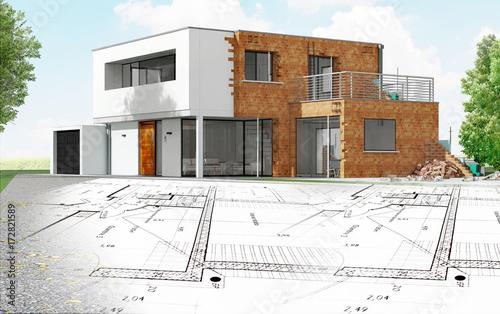 Obraz Plan et maison d'architecte en construction à toit plat - fototapety do salonu