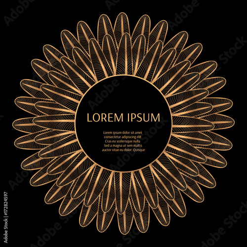 luxury background pattern vector design peacock feathers indian frame vintage golden for royal spa