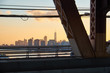 New York City skyline with One World Trade center in the middle seen in the sunset from Queensboro Bridge on Manhattan