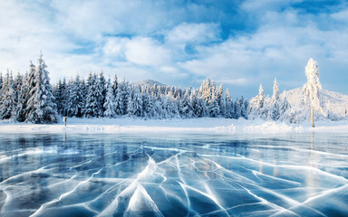 Blue ice and cracks on the surface of the ice. Frozen lake under a blue sky in the winter. The hills of pines. Winter. Carpathian, Ukraine, Europe.