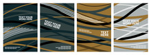 Set Of 4 Abstract Wave Line Fo...