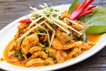 Stir Fried Chicken And Curry Paste