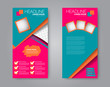 Vector flyer and leaflet design. Set of two side brochure templates. Vertical banners. Pink and green color. Vector illustration.