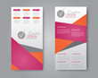 Skinny flyer or leaflet design. Set of two side brochure template or banner. Vector illustration. Pink and orange color.