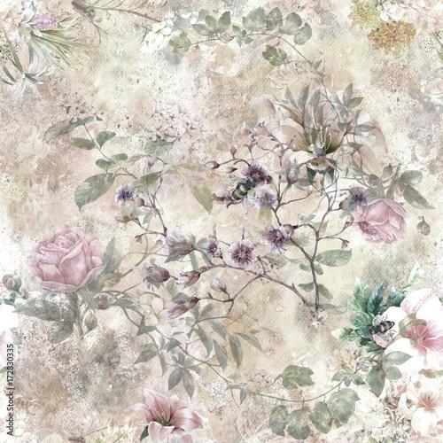 akwarela-lisc-i-kwiaty-wzor