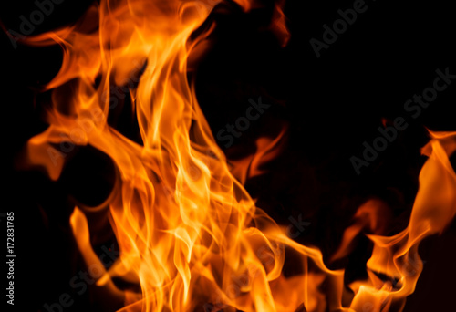 Poster Fire / Flame Orange fire flames
