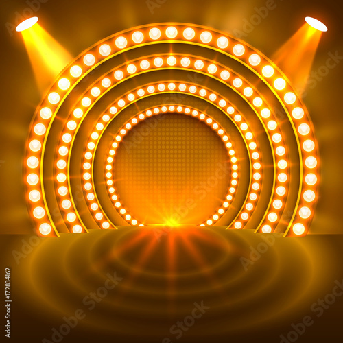 Show light podium gold background. Vector illustration Wall mural