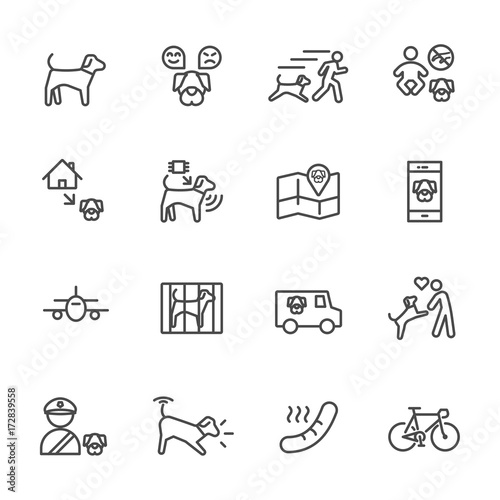 Valokuva  Dog is my best friend, Simple thin line icons set
