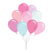 Colorful Transparent Balloons Isolated On White.