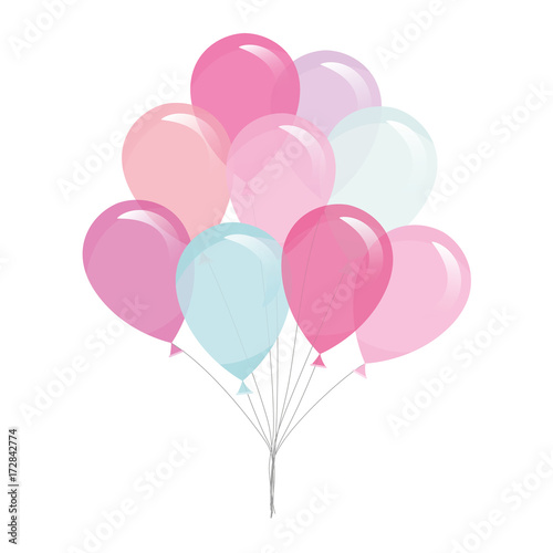 Photo  Colorful transparent balloons isolated on white.