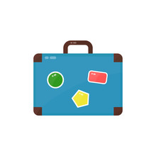 Vintage Old Suitcase With Stickers. Vector Modern Flat Style Cartoon  Illustration. Isolated On White Background.  Travel Trip Concept