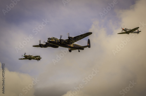 A Lancaster Bomber, Spitfire and Hurricane from WW2 Tablou Canvas
