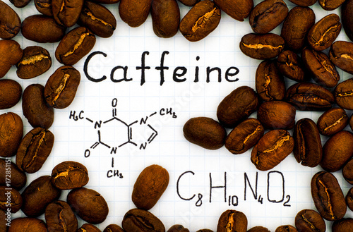 Chemical formula of Caffeine with coffee beans Fotobehang
