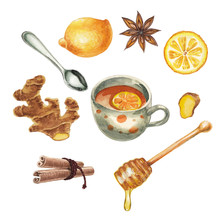 Watercolor Tea Set