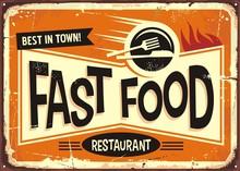 Fast Food Restaurant Vintage Tin Sign Design