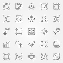 Blockchain Icons Set. Vector C...