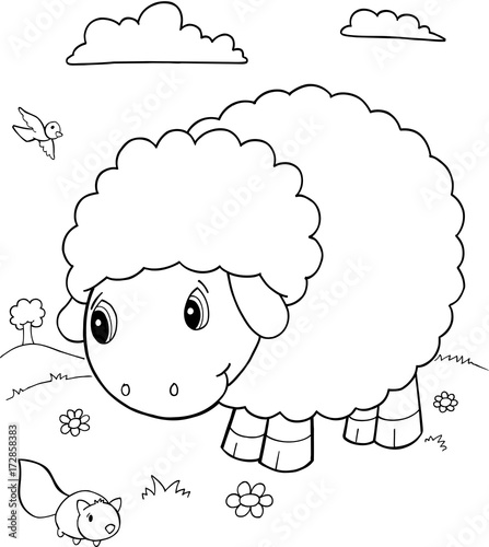 Foto auf AluDibond Cartoon draw Cute Sheep Vector Illustration Art