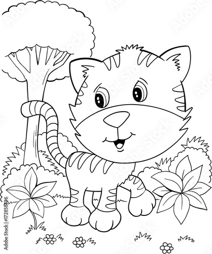 Poster Cartoon draw Cute Tiger Cub Kitten Vector Illustration Art