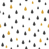 Vector Seamless pattern with water drop dots. Black and gold drops on white background. Modern abstract texture - 172858527