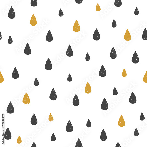 Vector Seamless pattern with water drop dots. Black and gold drops on white background. Modern abstract texture