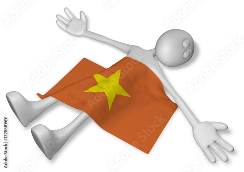 Fotografie, Obraz  dead cartoon guy and flag of vietnam - 3d illustration