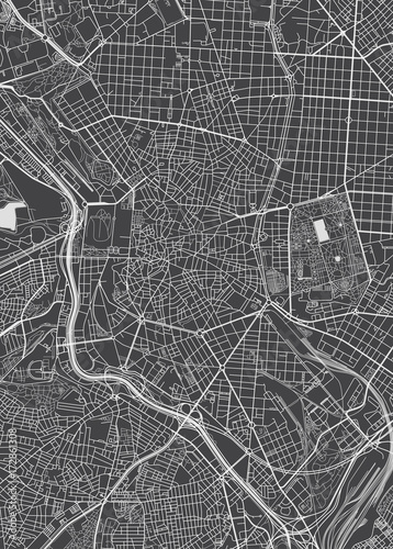 Madrid city plan, detailed vector map Fototapet