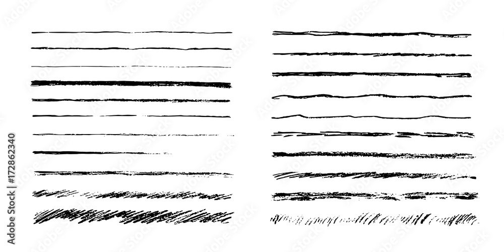 Fototapeta Set of artistic pencil brushes. Hand drawn grunge strokes. Vector illustration