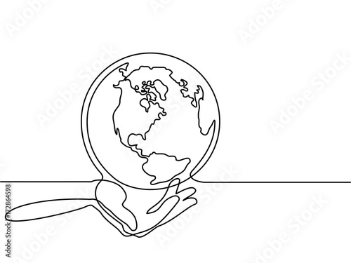 Map Of America Drawing.Continuous Line Drawing Globe Of The Earth In Human Hands Map Side