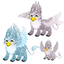 Adult Blue And Gray Spotted Griffon And Small Griffon. Fantasy Animals For Animation, Childrens Illustrations, Book And Other Design Needs. Vector Isolated On White Background