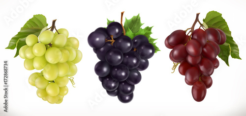 Red and white table grapes, wine grapes Fototapet