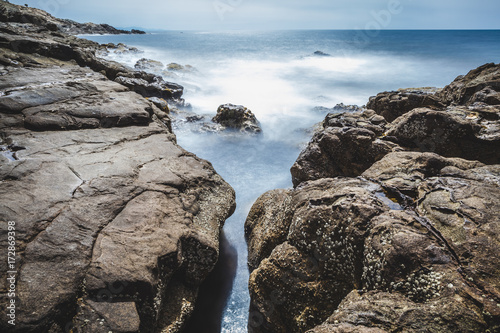 Rocky Coast in Italy, Long Exposure Seascape