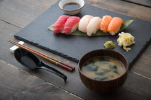 Miso Soup With Sushi