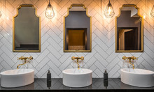 Washbasins And Mirrors Gold To...