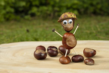 Funny Human Shape Character Or Figurine Made With Chestnuts On A Wooden Background In A Sunny Day